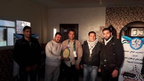 وفد من كتائب شهداء الأقصى - لواء غزة يهنئ المناضل: بسام الريفي بمولوده الجديد